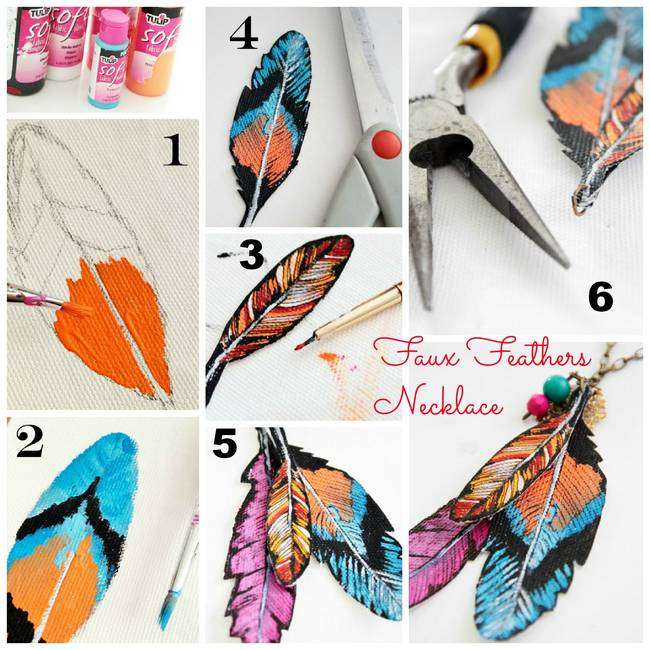 faux feathers necklace