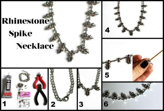 rhinestone spike necklace