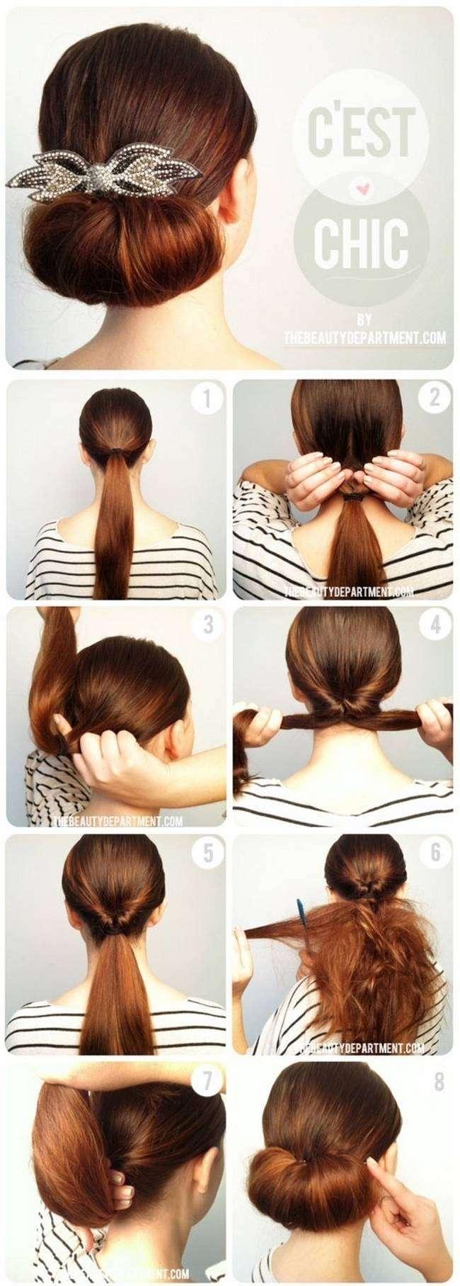 Причёски пучок для средних волос на каждый день в домашних условиях