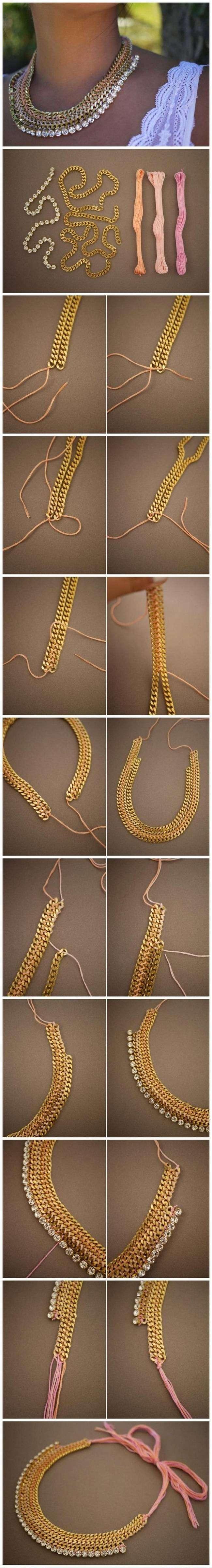 DIY gold necklace with precious stones