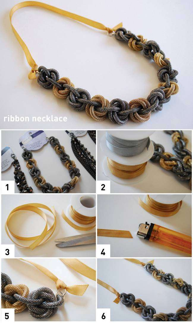 Handmade ribbon necklace